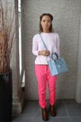 Light-pink-zara-sweater-sky-blue-zara-bag-hot-pink-zara-pants