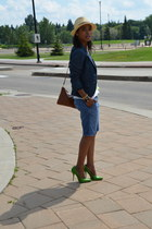 blue denim Zara blazer - blue Gap shorts - green fahrenheit pumps