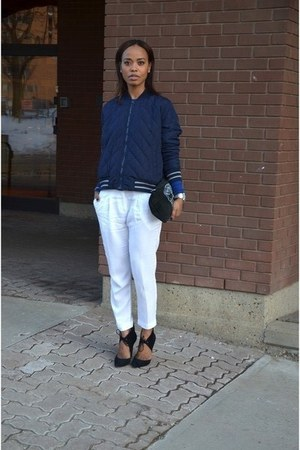white cotton hm pants - navy Gap jacket - black suede Zara heels