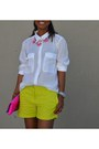 Chartreuse-joe-fresh-shorts-hot-pink-jcrew-necklace-white-levis-blouse