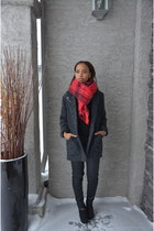 gray wool blend Mango coat - black coated Gap jeans - red H&M scarf