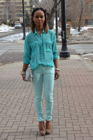 teal G21 jeans - teal chiffon garage blouse