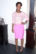 bubble gum cotton Gap skirt - dark brown leather calvin klein boots