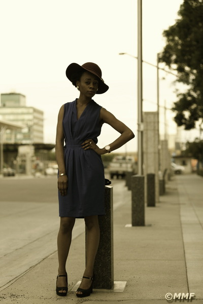 maroon H&M hat - blue H&M dress - Michael Kors watch