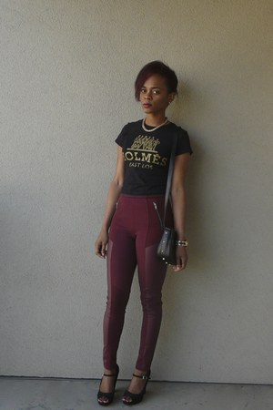maroon faux leather H&M leggings