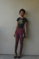 maroon faux leather H&M leggings