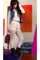 sky blue denim vintage vest - dark brown leather boots - ivory H&M sweater