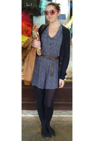 WomenSecret sunglasses - Zara belt - Massimo Dutti cardigan - Uterqe flats - blu