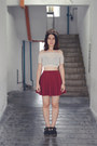 Haters-hat-maroon-cotton-on-skirt-beige-lace-crop-top-bangkok-top
