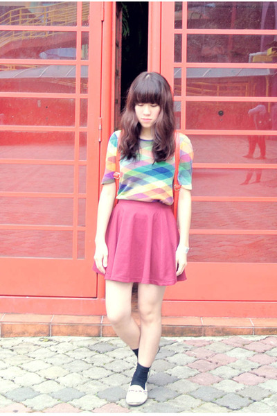 second hand vintage shirt - red wine color cotton on skirt