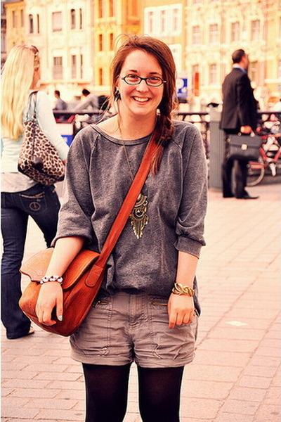 H&M sweater - Home made shorts - H&M bracelet - H&M necklace - Emmas accessories