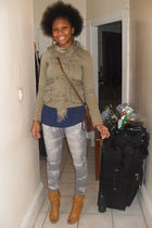 beige Urban Outfitters shoes - gray Urban Outfitters jeans - green H&M jacket