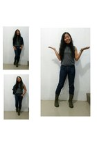 denim Topshop jacket - army green lace up Converse boots - denim Levis pants