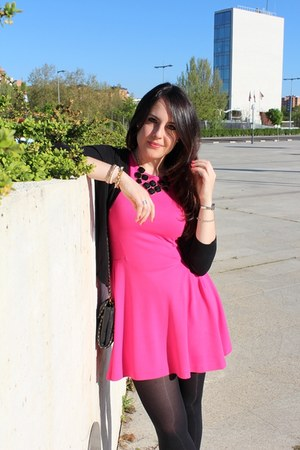 black Springfield cardigan - hot pink Zara dress - black Primark necklace