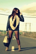 Zara bag - Mustang boots - black Pimkie jacket - DIY shorts