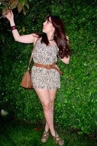 brown H&M bodysuit - brown Zara bag - Zara sandals