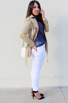 beige Zara coat - blue Stradivarius shirt - white H&M bag - white Zara pants