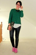olive green Primark jumper - dark khaki Primark bag - black Stradivarius pants
