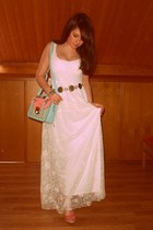 beige Zara dress - light blue BLANCO bag - pink BLANCO sandals