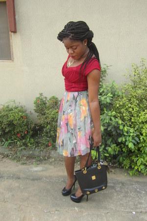 MCM bag - soft red Guess blouse - Loudania skirt