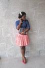 Red-pumps-barratts-shoes-blue-denim-denim-jeans-next-purse-tailored-skirt