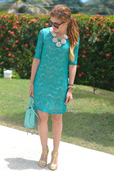 teal lace speechless dress - light blue mab mini Rebecca Minkoff bag