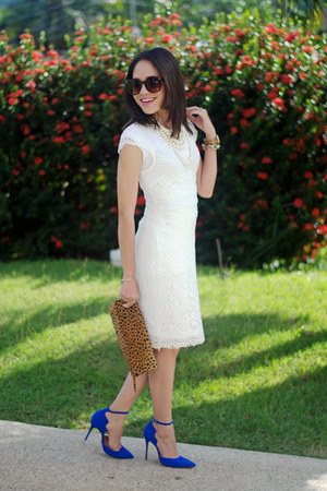 white lace Marshalls dress - tawny leopard clutch Etsy bag