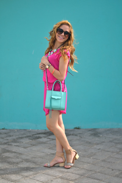 9239442b1148 hot pink pom pom Marshalls romper - light blue Rebecca Minkoff bag