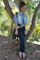 sky blue denim Marshalls shirt - black buckle DKNY bag