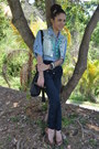 Sky-blue-denim-marshalls-shirt-black-buckle-dkny-bag