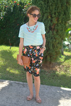 black floral Marshalls skirt - bronze bow JCrew flats