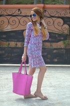 pink JCrew dress - hot pink co-lab bag - bronze emery flats JCrew flats