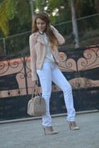 white Marshalls jeans - white JCrew shirt - tan DKNY bag