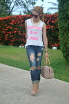 white JC Fits t-shirt - blue distressed 579 jeans - tan DKNY bag