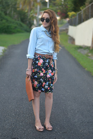 black floral Marshalls skirt - light blue chambray Ralph Lauren shirt