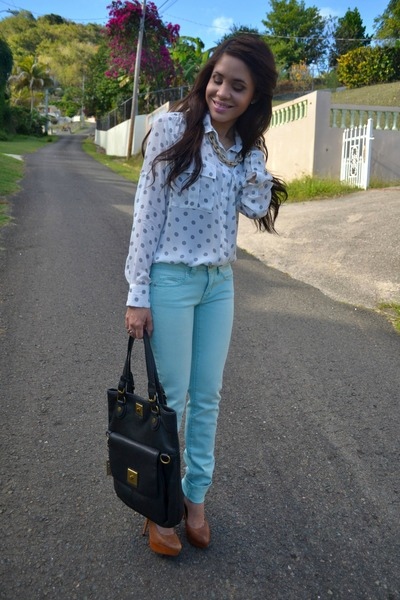 Light Blue Polka Dot Shirt Light Blue Polka Dot Blouse 34