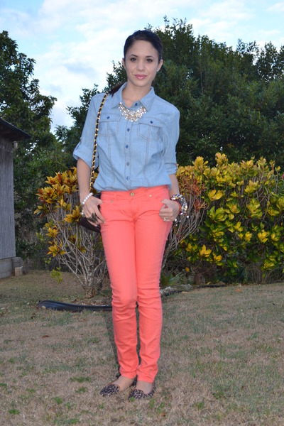 salmon colored jeans