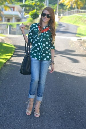 green butterfly OASAP shirt - black London Fog bag - nude vernon just fab heels