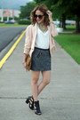 Black-celena-schutz-boots-light-pink-velvet-heart-blazer-black-express-skirt