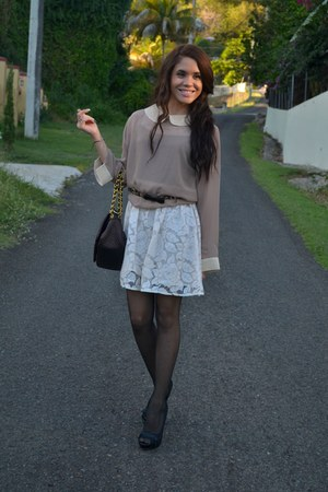tan Marshalls blouse - neutral lace Marshalls dress