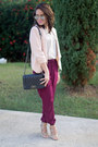 Light-pink-velvet-heart-blazer-black-quilted-ami-clubwear-bag