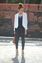 white Burlington blazer - tawny ostrich Marshalls bag - black 579 jumper