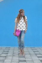dd5b025b9142 ... Rebecca Minkoff bag. ivory sequined JCrew top - blue boyfriend  Aeropostale jeans