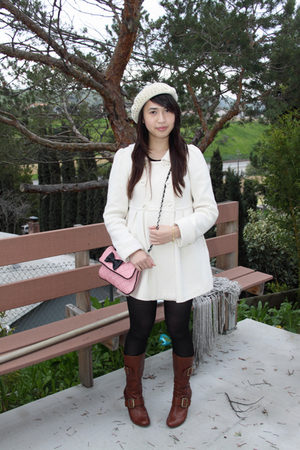 Forever 21 coat - pink Forever 21 purse - Juicy Couture hat - pink H&M skirt - b
