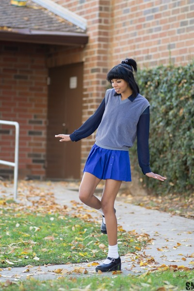 blue Prince skirt - white Target socks - heather gray sweater vest unkown vest