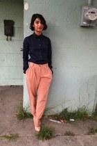 navy oxford Uniqlo shirt - peach pleated asoscom pants - Zara pumps