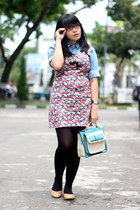 floral print dress - sky blue denim shirt - black H&M tights - aquamarine bag