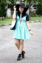 mint dress - black floppy hat - black shirt