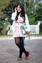 ivory printed dress - black H&M tights - aquamarine bag