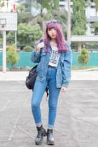 blue denim thrifted jacket - black faux leather H&M boots - blue pants H&M jeans